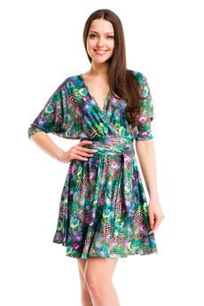 Зеленое платье на лето с принтом Перо павлина Mondigo со скидкой