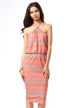 Летнее платье с лямочками через шею и поясом-резинкой Vilatte