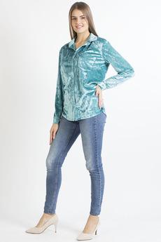 Бирюзовая бархатная рубашка Bast