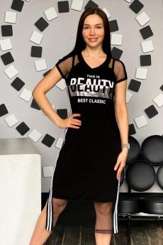 Модное черное платье с сеткой Натали